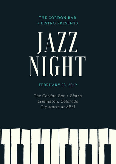 Dark Blue and White Piano Jazz Poster  Templates by Canva