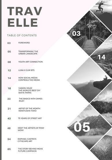 Pink Diamond Photo Grid Table Of Contents Templates By Canva