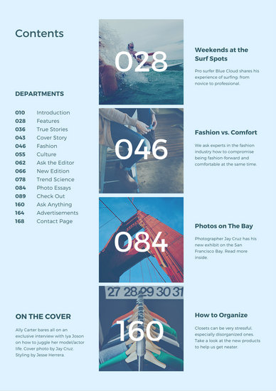 Aqua Magazine General Table Of Contents Templates By Canva