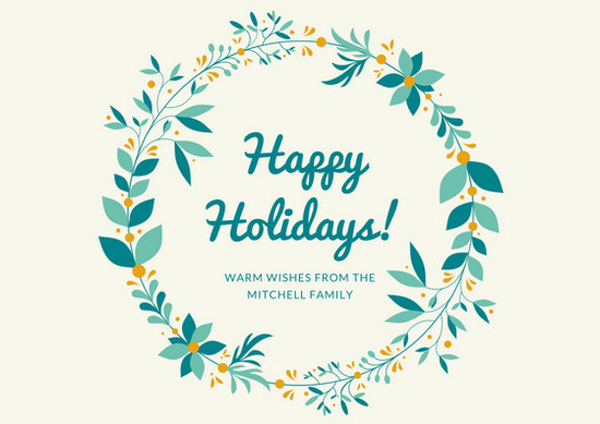Blue and Mint Wreath Holiday Postcard  Templates by Canva