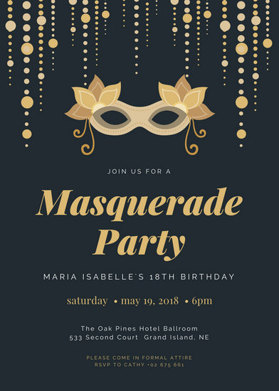 18th Birthday Masquerade Party Invitation  Templates by Canva