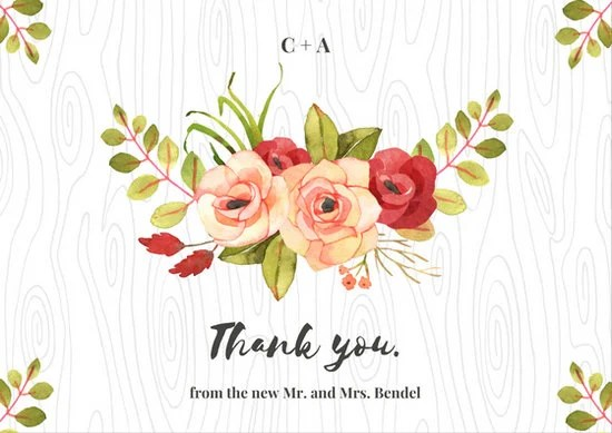 Watercolor Roses Wedding Thank You Postcard Templates By