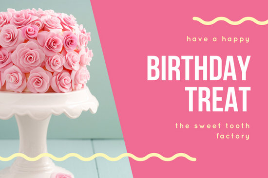 Pink Blue Cake Photo Birthday Gift Certificate  Templates