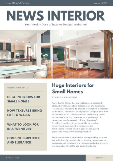 Blue And Gray Interior Design Newsletter Templates By Canva