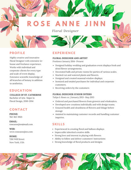 Colorful Floral Resume Templates By Canva