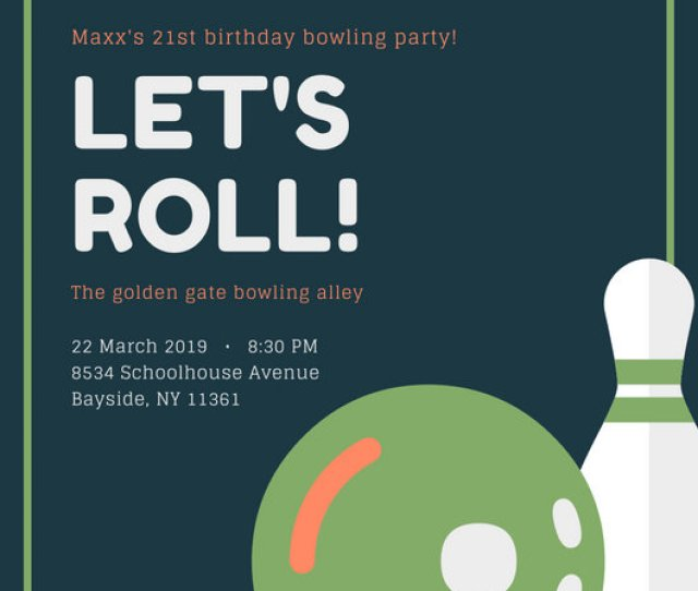 Green And Blue Bowling Invitation