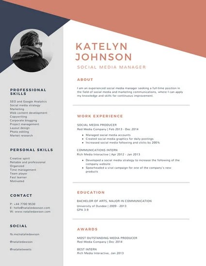 Blue And Brick Red Geometric Modern Resume Templates By