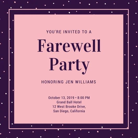 farewell party template