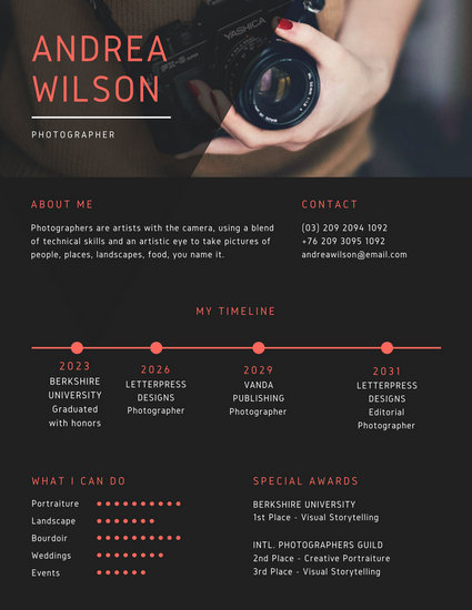 Black And Red Photo Creative Resume Templates By Canva