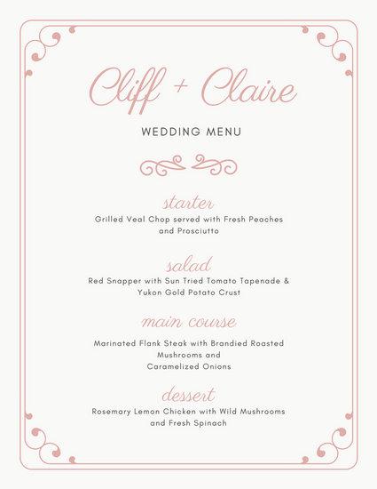 menu templates for weddings - wedding menu template free download champlain college