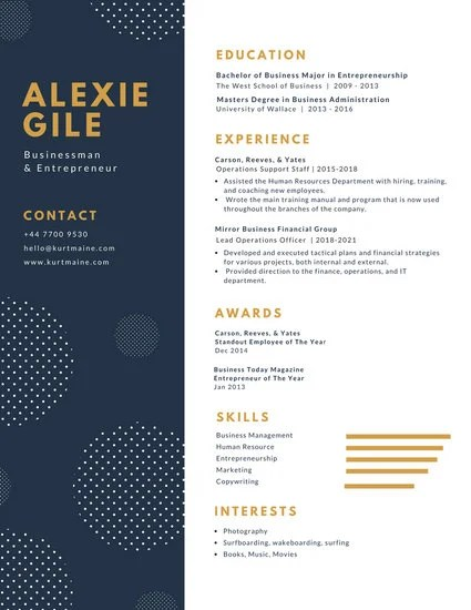 White And Blue With Polka Dots Minimalist Resume
