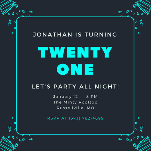 Customize 556 21st Birthday Invitation templates online