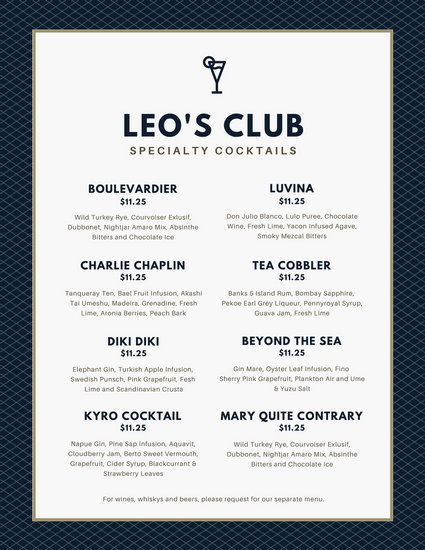 Navy Blue Grid Pattern Cocktail Menu  Templates by Canva