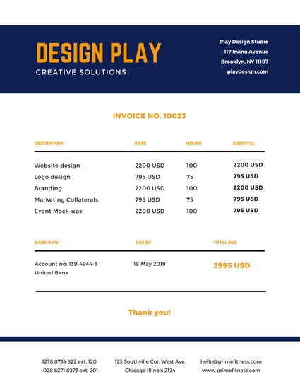 Navy Blue Yellow Simple Invoice - Templates by Canva
