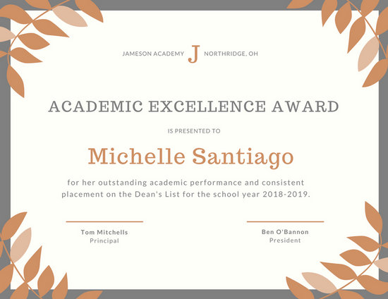academic achievement award template