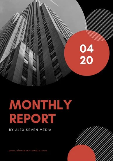 Red Black Circles Monthly Report  Templates by Canva