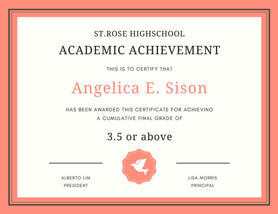 academic achievement certificates templates