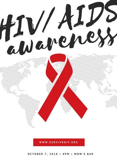 Black And White World Map And Ribbon HIV AIDS Poster