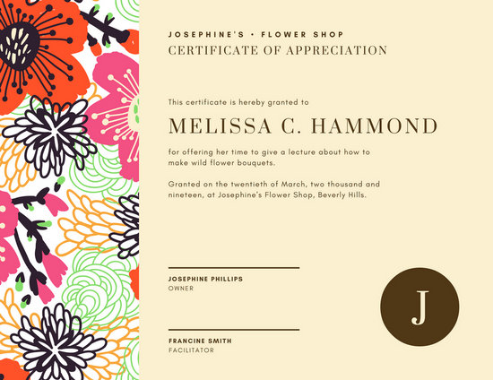 Cream Floral Certificate Of Appreciation Templates By Canva