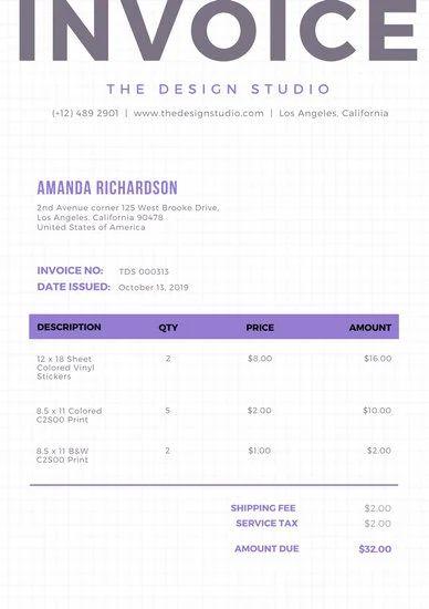 web invoice template
