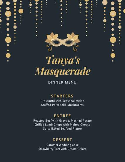 Dark Blue With Mask Masquerade Dinner Menu Templates By