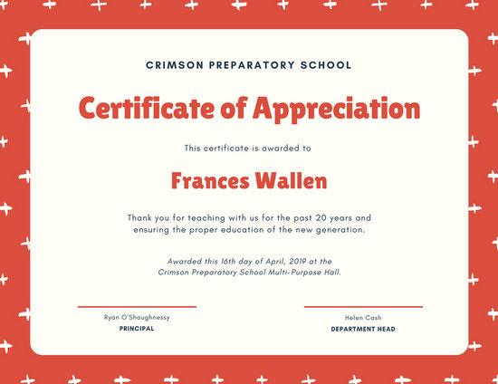 Red And Cream Cross Pattern Appreciation Certificate