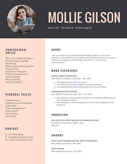 Charcoal And Pink Photo Girl Minimalist Resume Templates
