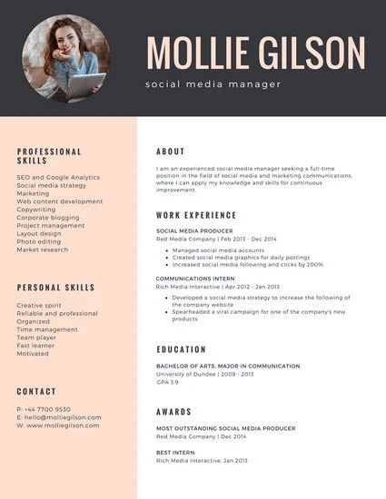 resume template yellow