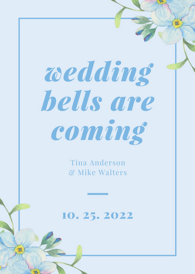 Blue Border Floral Wedding Announcement Templates By Canva