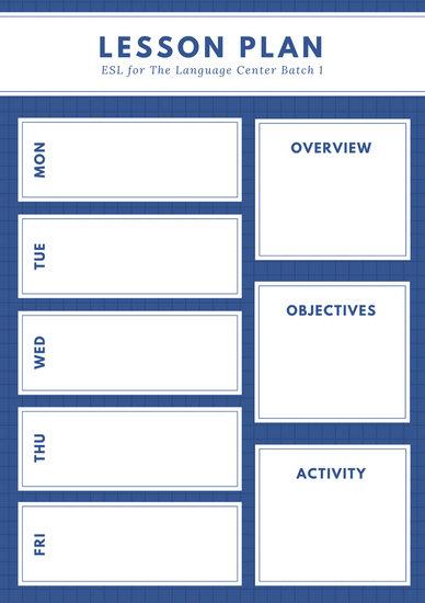 esl lesson plans template