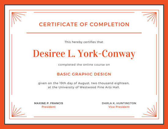 Orange And White Completion Certificate Templates By Canva