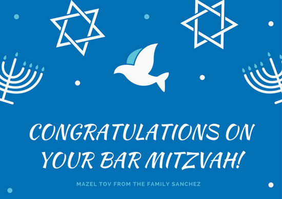 Blue Mandala Bar Mitzvah Card Templates By Canva