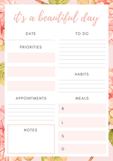 Pink And White Floral Watercolor Daily Planner Templates