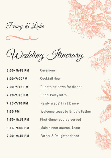 Peach Illustrated Wedding Itinerary Templates By Canva