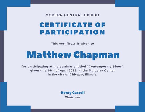 Blue Corner Border Participation Certificate Templates