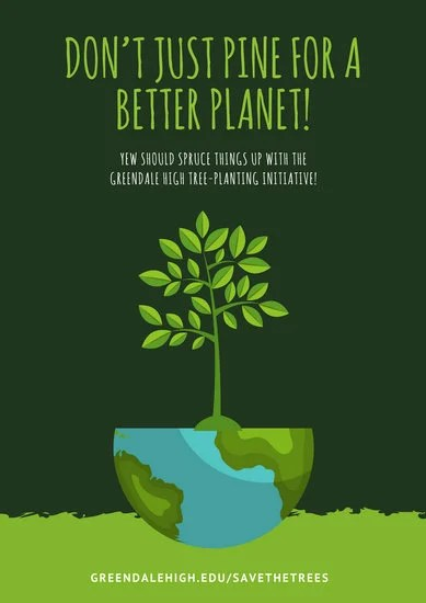 Green Tree Environmental Protection Poster Templates By