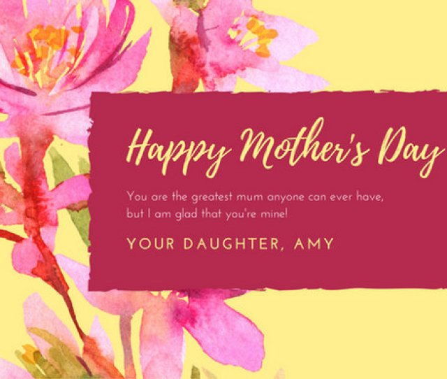 Pink Yellow Floral Watercolor Mothers Day Card