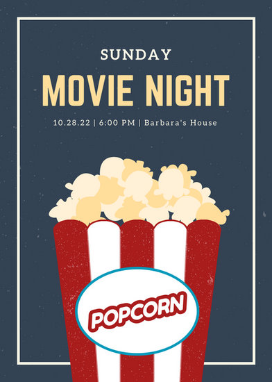 Blue and Cream Grungy Popcorn Movie Night Flyer