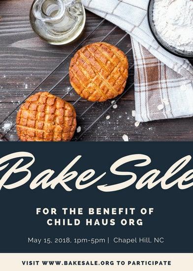 White  Black Modern Cookies Bake Sale Flyer  Templates
