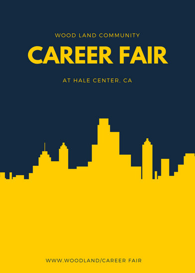 Navy Blue And Yellow Skyline Job Fair Flyer Templates By
