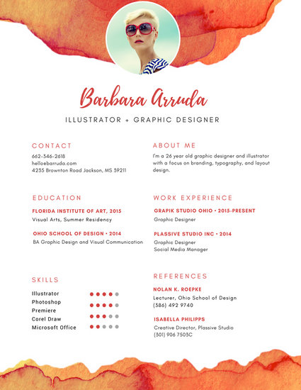 Orange Graphic Designer Resume - Templates by Canva