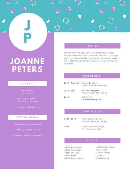 creative resume design for graphic designer