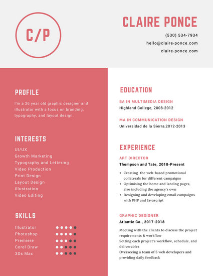 Customize 563 Graphic Design Resume templates online  Canva