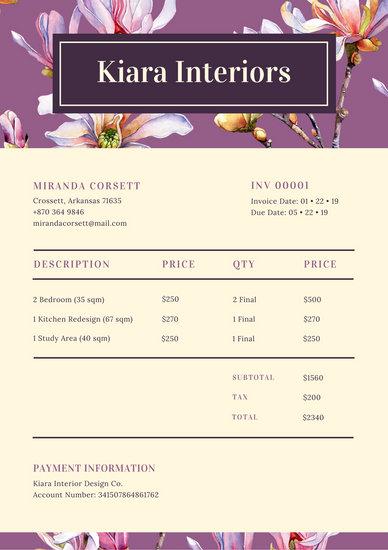 Violet And Beige Floral Interior Design Service Invoice
