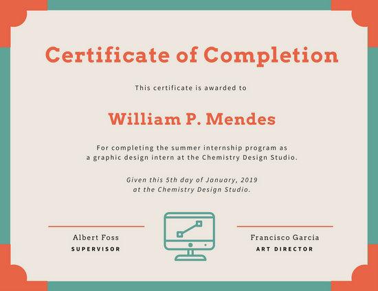 internship certificate format