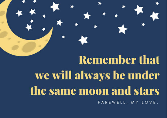 Blue Night Sky Farewell Card - Templates by Canva