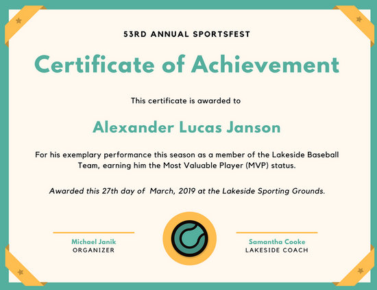 Teal Baseball Icon Sport Certificate Templates By Canva