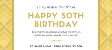 gold white art deco 50th birthday greeting card - 50th Birthday Wishes