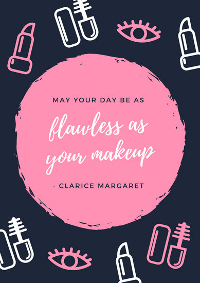 Pink And Blue Icons Quote Beauty Makeup Poster Templates