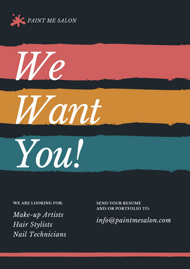 Colorful Brushstrokes Make Up Artist Wanted Poster